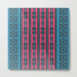 African Ethnic Tribal Motif Striped Turquoise Pattern Metal Print