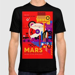 NASA Mars The Red Planet Retro Poster Futuristic Best Quality T-shirt