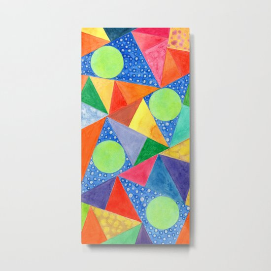 Lime Green Circles within a Cool Triangles Pattern Metal Print