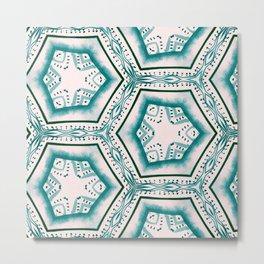 Teal Hexagons in Watercolors Metal Print