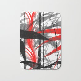 red black grey silver white bamboo abstract digital painting Bath Mat
