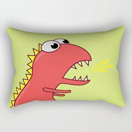 Cute Cartoon Dinosaur With Fire Breath Rectangular Pillow
