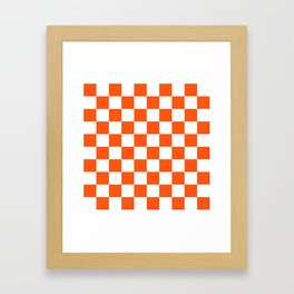 Cheerful Orange Checkerboard Framed Art Print
