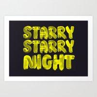 starry night Art Prints featuring Starry Starry Night by Brush Rush
