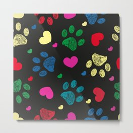 Doodle colorful paw prints with hearts seamless fabric design pattern vector black background Metal Print