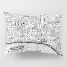 Vintage Map of Philadelphia Pennsylvania (1860) BW Pillow Sham