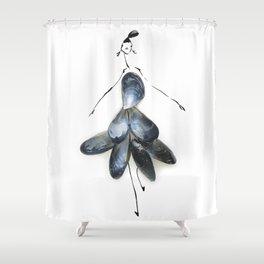 Edible Ensembles: Blue Mussels Shower Curtain
