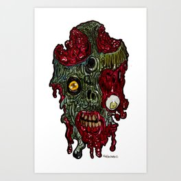 Heads of the Living Dead Zombies: Cuts Zombie Art Print