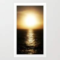 Calais ocean sunset, bloom. Art Print