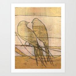 listening, crossing, returning Art Print