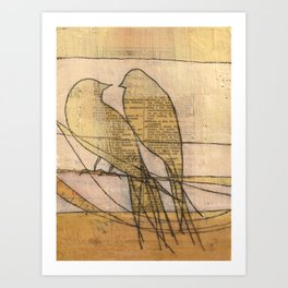 listening, crossing, returning Art Print