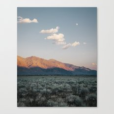 Sierra Mountains with Harvest Moon Canvas Print