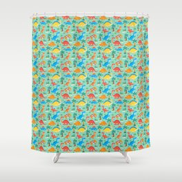 Dinos Green Shower Curtain