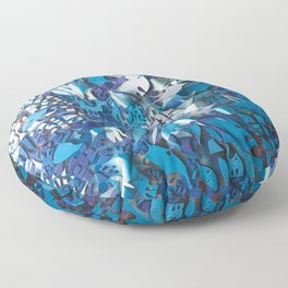 Frost- Abstract Floral Mosaic Collage Floor Pillow