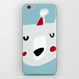 Cute holiday bear blue iPhone Skin