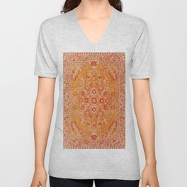 N78 - Orange Antique Oriental Berber Moroccan Style Carpet Design. Unisex V-Neck