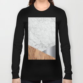 White Marble - Wood & Silver #157 Long Sleeve T-shirt