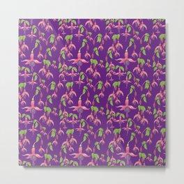 Watercolour Fuchsia Flower Pattern - Purple Metal Print