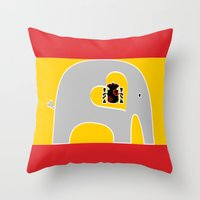 spanish Throw Pillows featuring Spanish Elephant by Elephant Love