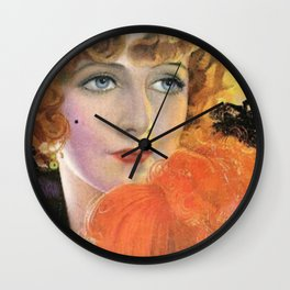Retro Lady in Orange with a Smile Wall Clock