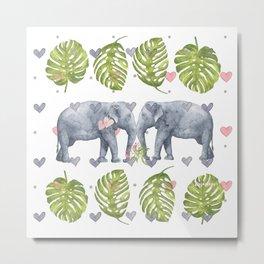 Soulmates - Elephant Ilustration - Bagaceous Metal Print
