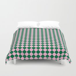Cotton Candy Pink and Cadmium Green Diamonds Duvet Cover