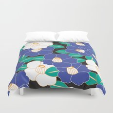 Japanese Style Camellia - Blue and Black Duvet Cover