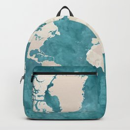 Teal watercolor and light brown world map Backpack