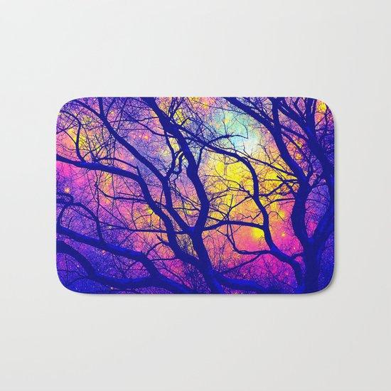 Black Trees Deep Bright & Colorful Space Bath Mat