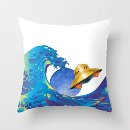 Hokusai Rainbow, UFO & the Moon  Throw Pillow