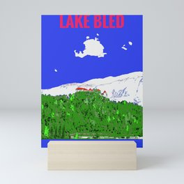 Lake Bled Castle on Cliff Paint on Photo Mini Art Print