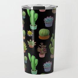 Potted cacti and succulents on black background Travel Mug