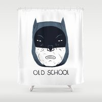 school Shower Curtains featuring old school by Louis Roskosch