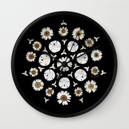 nature mandala... daisies, sand dollars, shark teeth Wall Clock