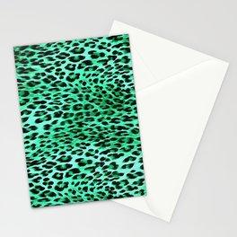 AquaMarine Tones Leopard Skin Camouflage Pattern Stationery Cards