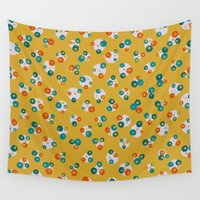 yellow pattern Wall Tapestries featuring Yellow by Alisa Galitsyna