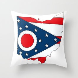 Map of Ohio with State Flag Throw Pillow