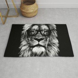 Hipster Lion Black Rug