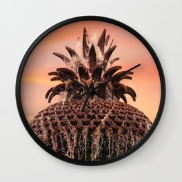 Pineapple Fountain Pink Wall Clock