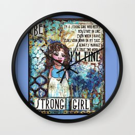 Be Strong Girl Wall Clock