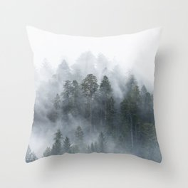 Redwood National Park Forest Fog Throw Pillow