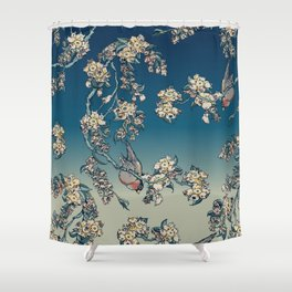 Bullfinch and French Bulldog Cherry Shower Curtain