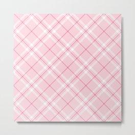Blush Pink Plaid Metal Print