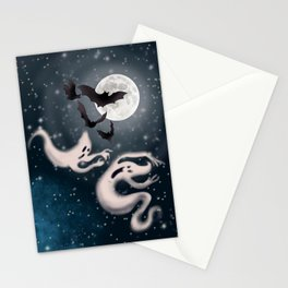 Ghosts, bats and the full moon digital art  Stationery Cards