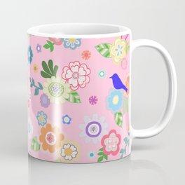 Whimsical Flowers & Birds in Pink Coffee Mug