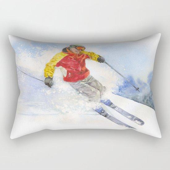 Skier, watercolor paintingon . Rectangular Pillow