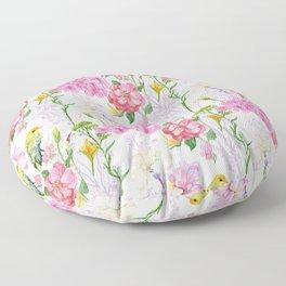 Pink Irises, Hydrangeas, Greenery, Yellow Birds Floor Pillow