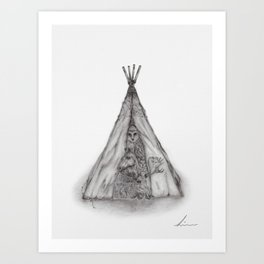 Story time inside the tent Art Print