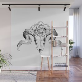 Flower Head Skull Wall Mural