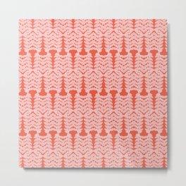 Pink Trailing Leaves Pattern Metal Print